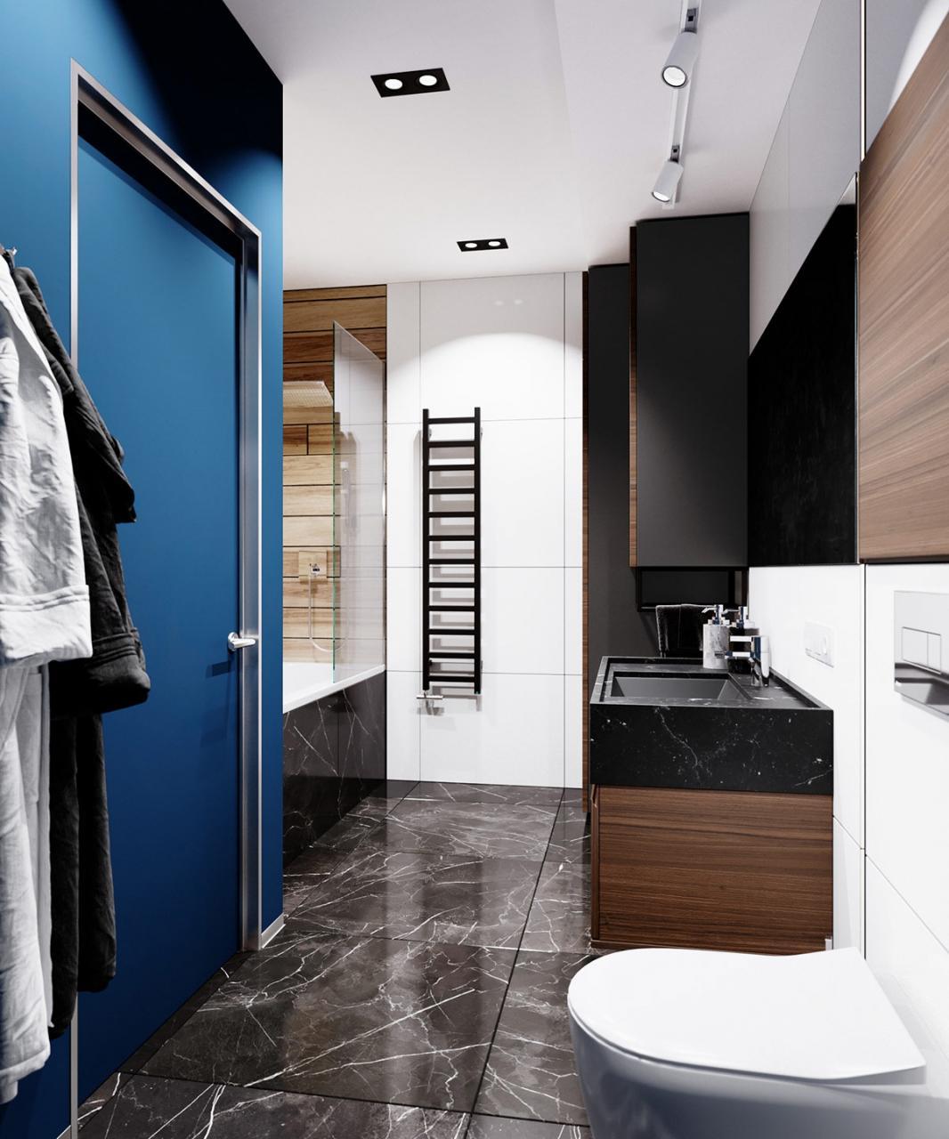 Sàn đá cẩm thạch cung cấp vẻ ngoài sang trọng cho phòng tắm